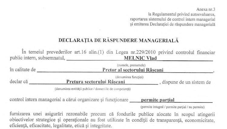 Declarația de răspundere managerială